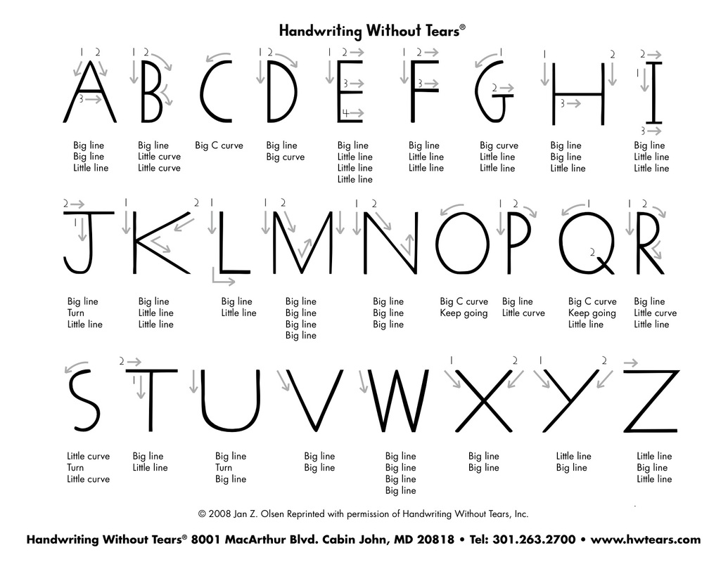 Striking image intended for handwriting without tears printable